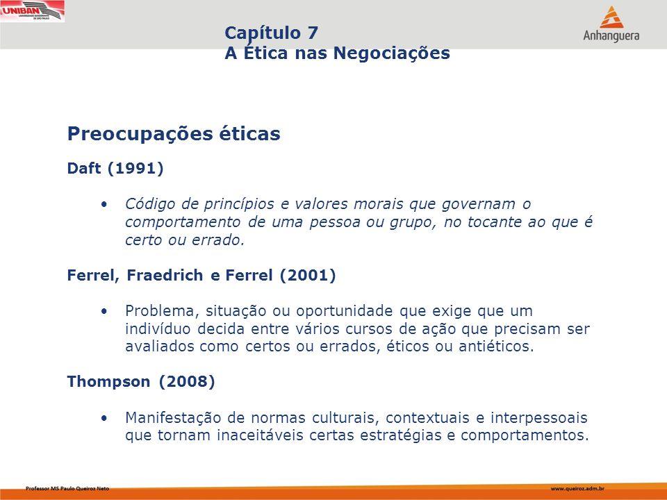 Capítulo 7 A Ética nas Negociações Daft (1991) Código de princípios e valores morais que governam o comportamento de uma pessoa ou grupo, no tocante a