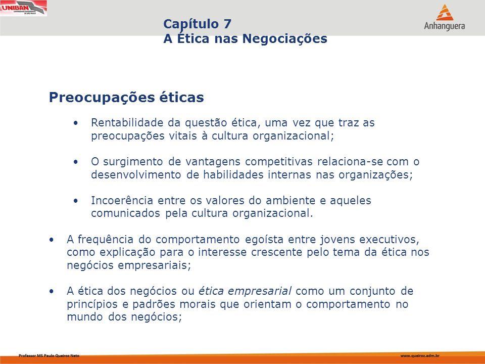 Capa da Obra Capítulo 7 A Ética nas Negociações Rentabilidade da questão ética, uma vez que traz as preocupações vitais à cultura organizacional; O su