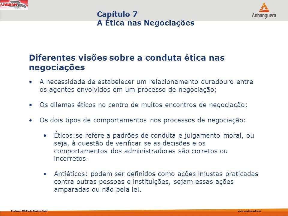 Capa da Obra Capítulo 7 A Ética nas Negociações A necessidade de estabelecer um relacionamento duradouro entre os agentes envolvidos em um processo de