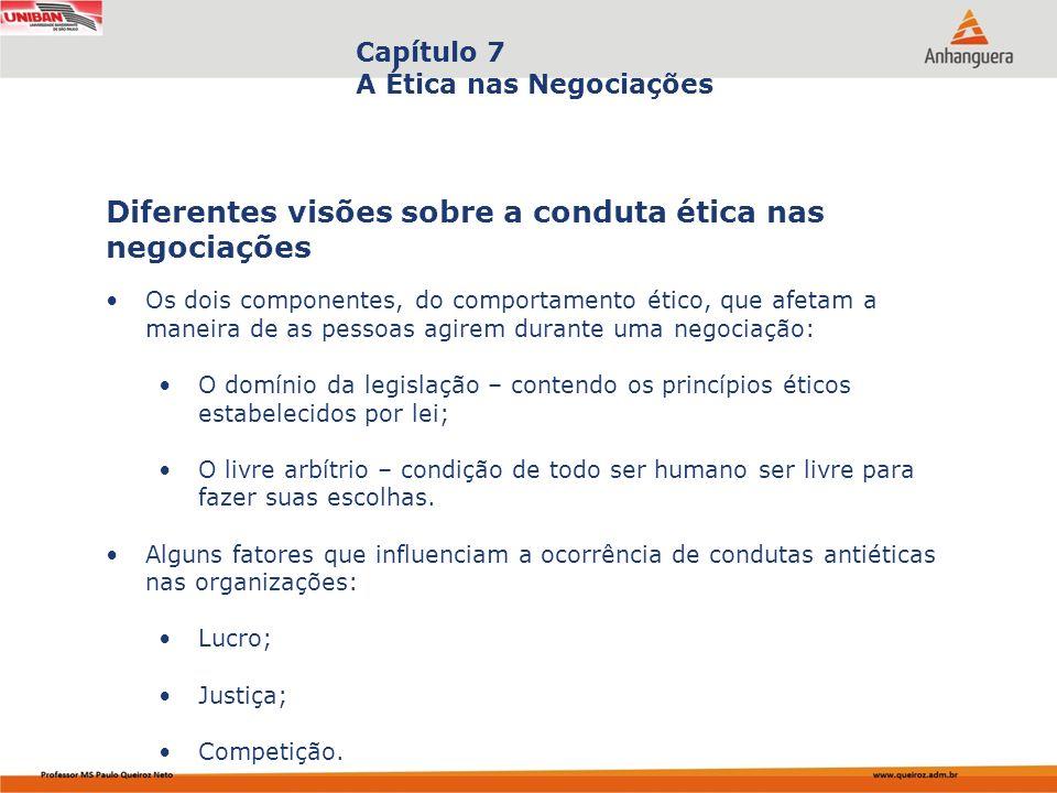 Capa da Obra Capítulo 7 A Ética nas Negociações Os dois componentes, do comportamento ético, que afetam a maneira de as pessoas agirem durante uma neg