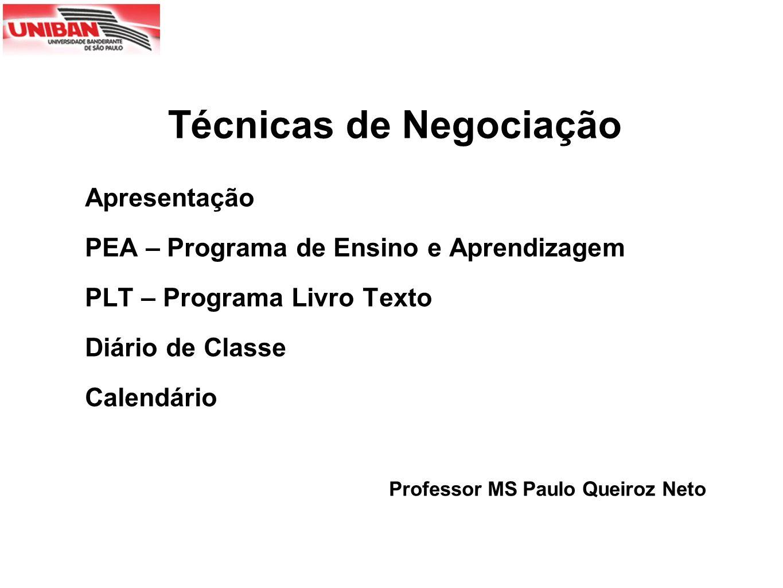 Apresentação PEA – Programa de Ensino e Aprendizagem PLT – Programa Livro Texto Diário de Classe Calendário Professor MS Paulo Queiroz Neto Técnicas d