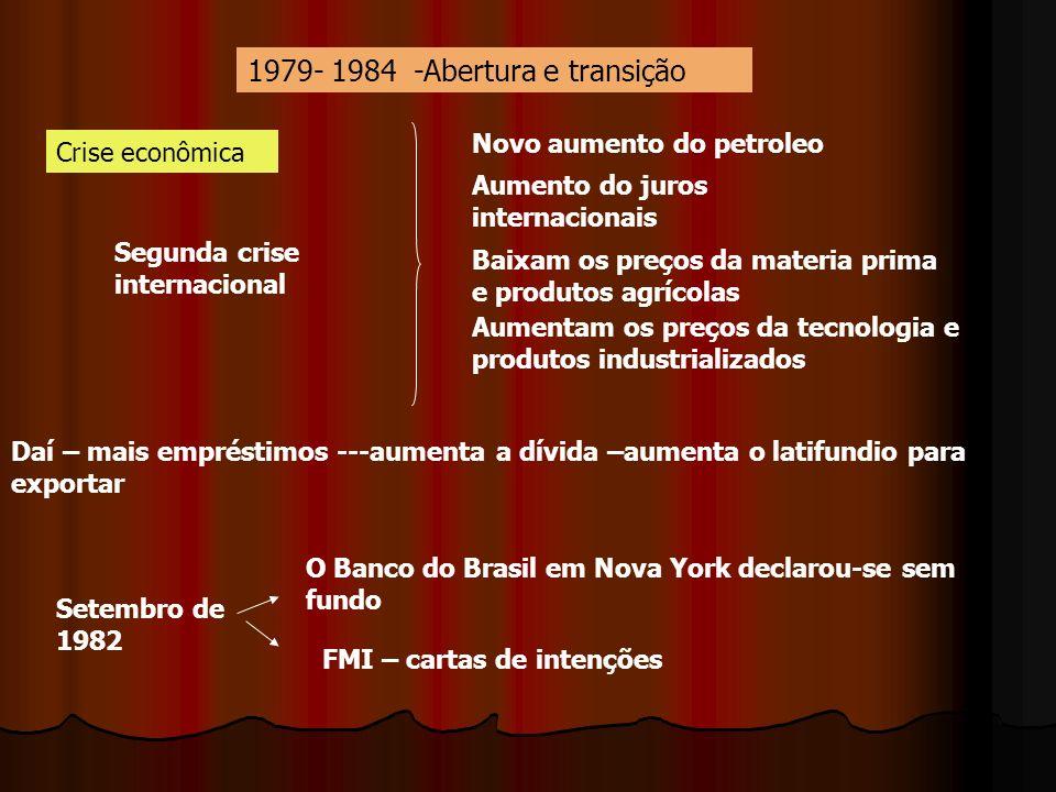 1979- 1984 -Abertura e transição Segunda crise internacional Novo aumento do petroleo Aumento do juros internacionais Baixam os preços da materia prim
