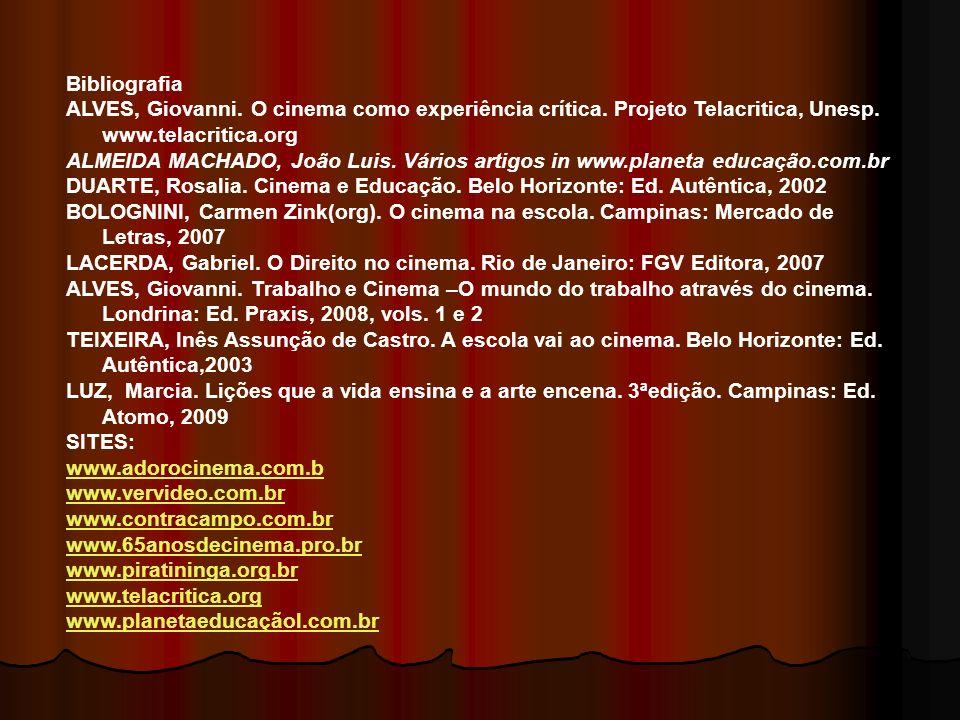 Bibliografia ALVES, Giovanni. O cinema como experiência crítica. Projeto Telacritica, Unesp. www.telacritica.org ALMEIDA MACHADO, João Luis. Vários ar