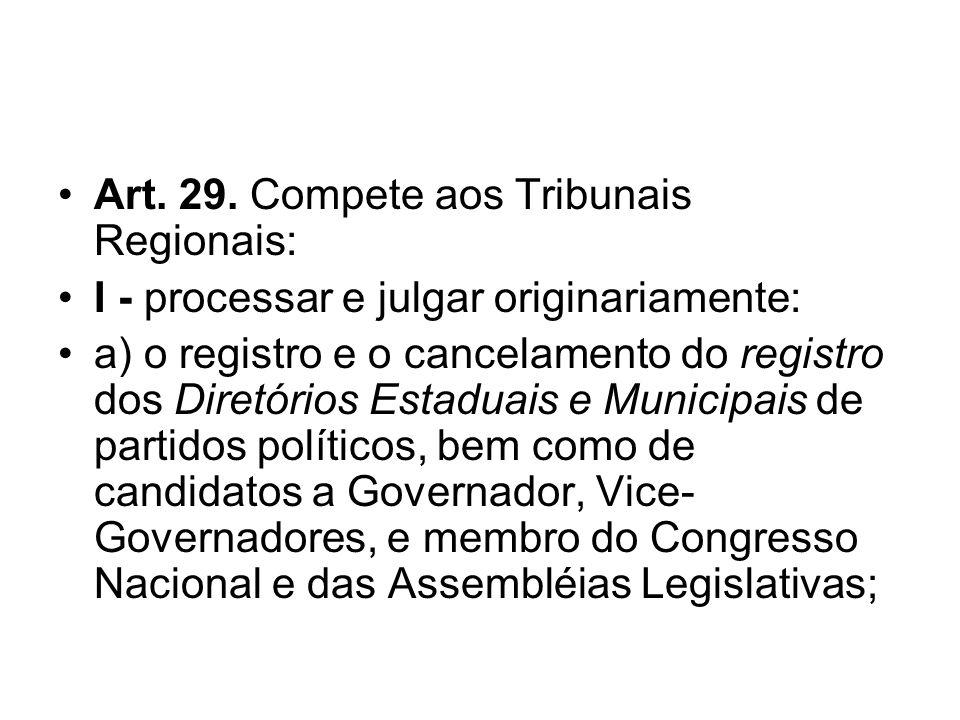 Art. 29. Compete aos Tribunais Regionais: I - processar e julgar originariamente: a) o registro e o cancelamento do registro dos Diretórios Estaduais