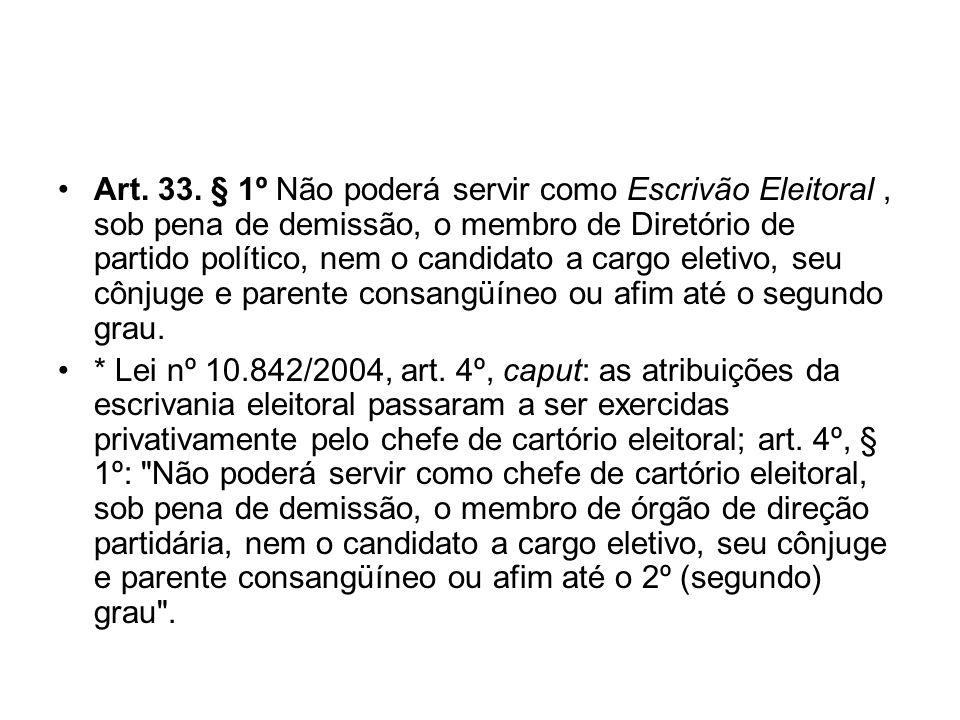 Art. 33. § 1º Não poderá servir como Escrivão Eleitoral, sob pena de demissão, o membro de Diretório de partido político, nem o candidato a cargo elet
