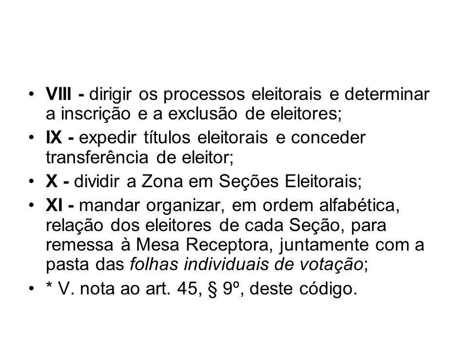 VIII - dirigir os processos eleitorais e determinar a inscrição e a exclusão de eleitores; IX - expedir títulos eleitorais e conceder transferência de
