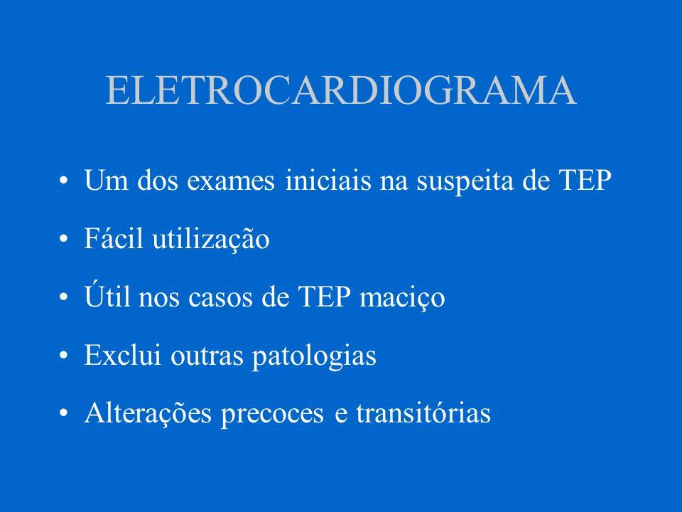 ELETROCARDIOGRAMA Um dos exames iniciais na suspeita de TEP Fácil utilização Útil nos casos de TEP maciço Exclui outras patologias Alterações precoces
