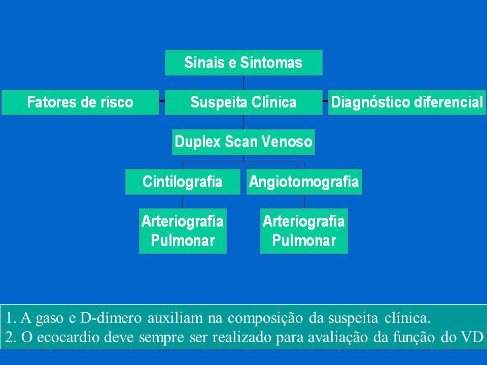 1. A gaso e D-dímero auxiliam na composição da suspeita clínica. 2. O ecocardio deve sempre ser realizado para avaliação da função do VD