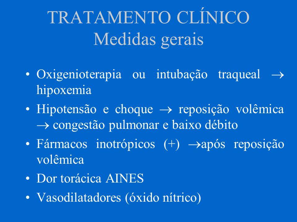 TRATAMENTO CLÍNICO Medidas gerais Oxigenioterapia ou intubação traqueal hipoxemia Hipotensão e choque reposição volêmica congestão pulmonar e baixo dé
