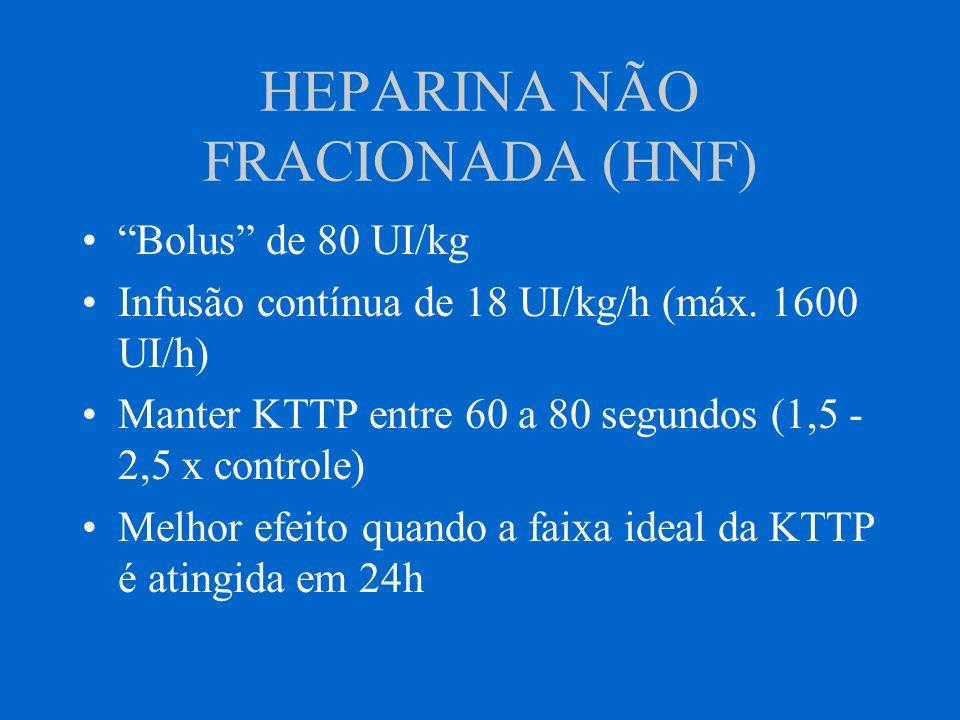 HEPARINA NÃO FRACIONADA (HNF) Bolus de 80 UI/kg Infusão contínua de 18 UI/kg/h (máx. 1600 UI/h) Manter KTTP entre 60 a 80 segundos (1,5 - 2,5 x contro
