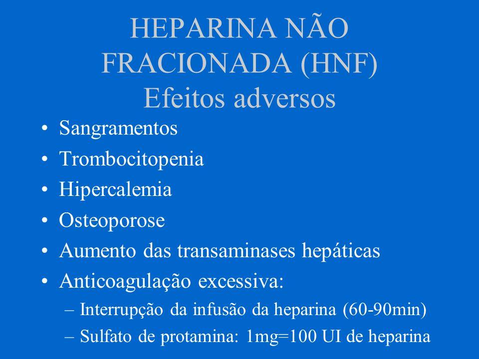 HEPARINA NÃO FRACIONADA (HNF) Efeitos adversos Sangramentos Trombocitopenia Hipercalemia Osteoporose Aumento das transaminases hepáticas Anticoagulaçã