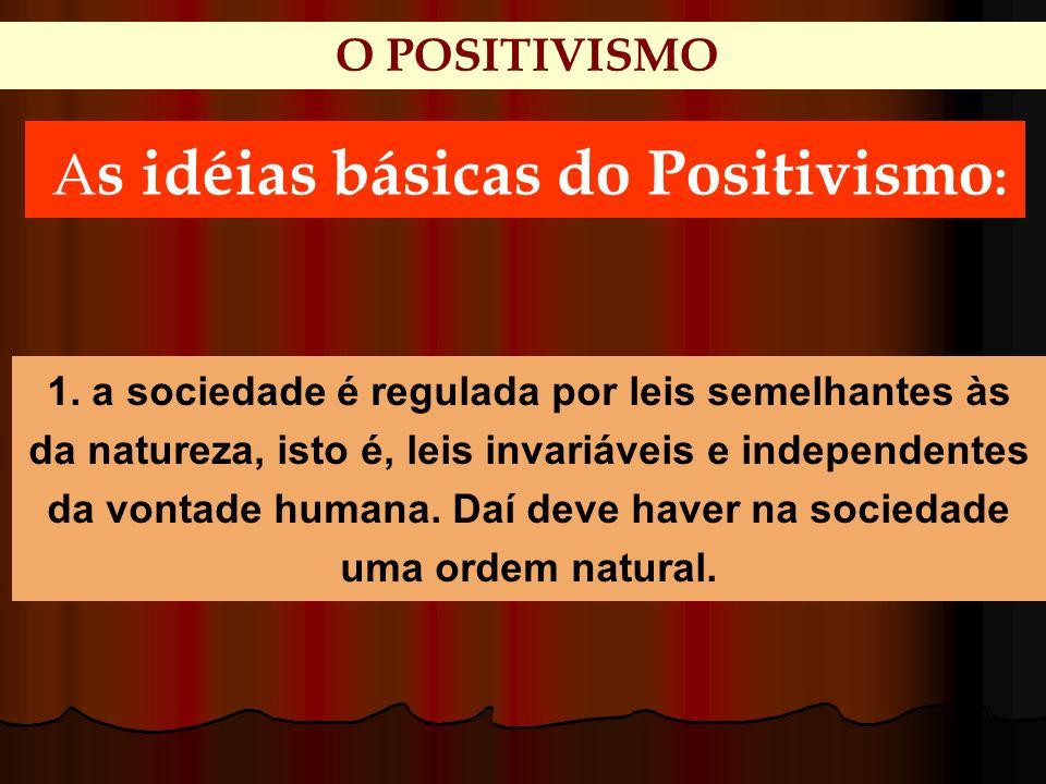 O POSITIVISMO A s idéias básicas do Positivismo : 1. a sociedade é regulada por leis semelhantes às da natureza, isto é, leis invariáveis e independen