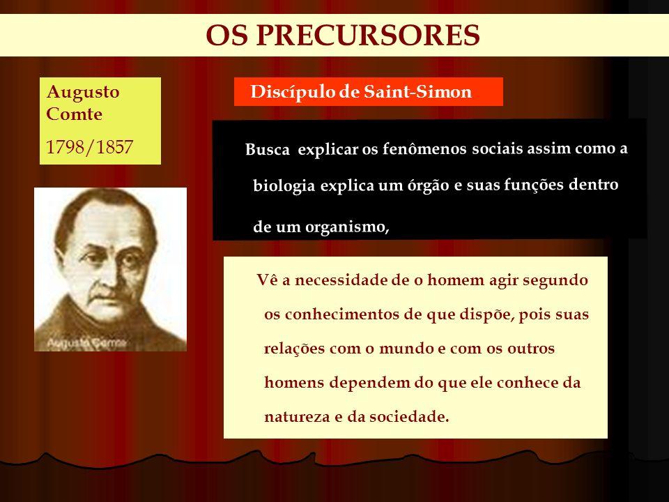 OS PRECURSORES Augusto Comte 1798/1857 Discípulo de Saint-Simon Busca explicar os fenômenos sociais assim como a biologia explica um órgão e suas funç