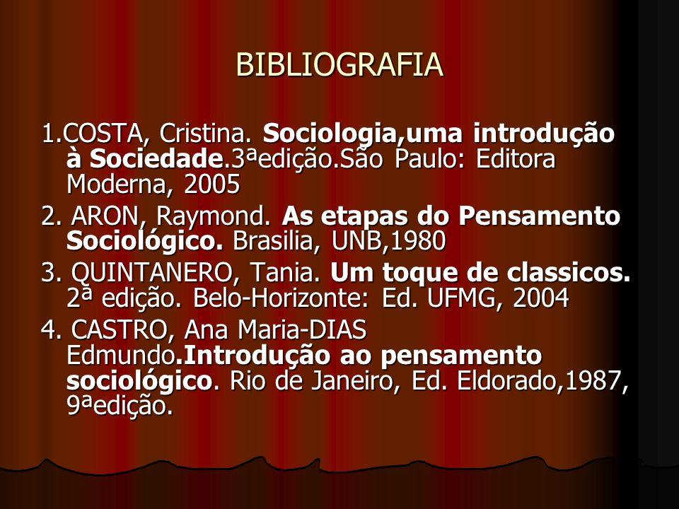 BIBLIOGRAFIA 1.COSTA, Cristina. Sociologia,uma introdução à Sociedade.3ªedição.São Paulo: Editora Moderna, 2005 2. ARON, Raymond. As etapas do Pensame