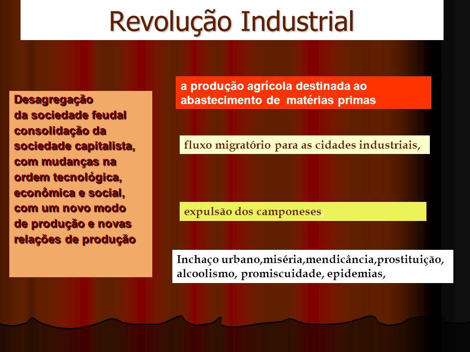 Revolução Industrial Conseqüências: o aparecimento de uma nova camada social, o operariado, a consciência de classe, a formação de associações e sindicatos, o enriquecimento da burguesia.