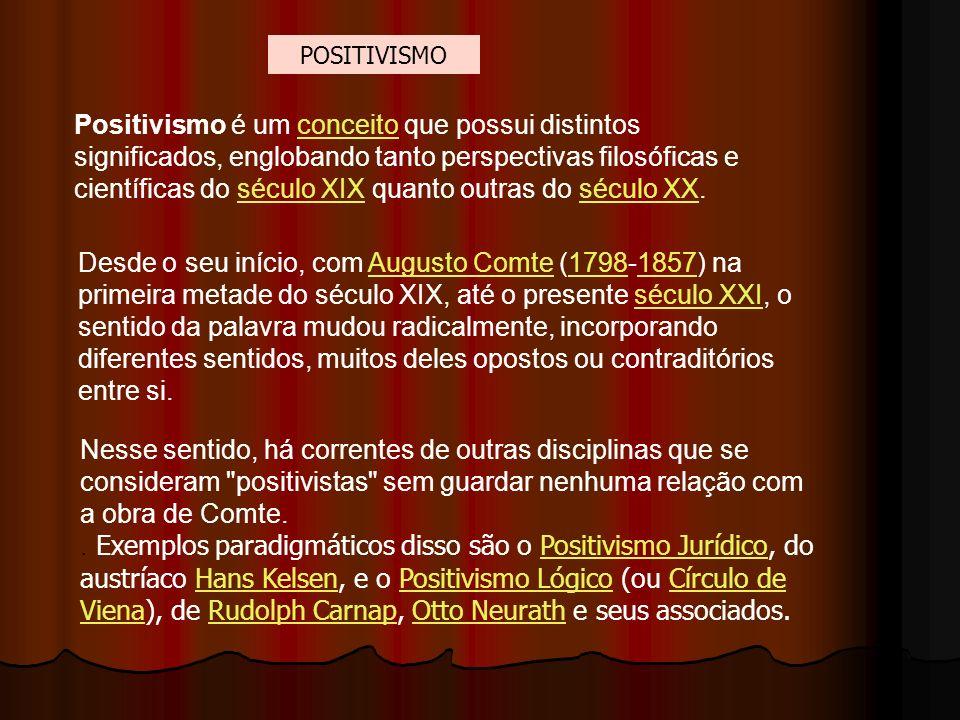 Positivismo é um conceito que possui distintos significados, englobando tanto perspectivas filosóficas e científicas do século XIX quanto outras do sé