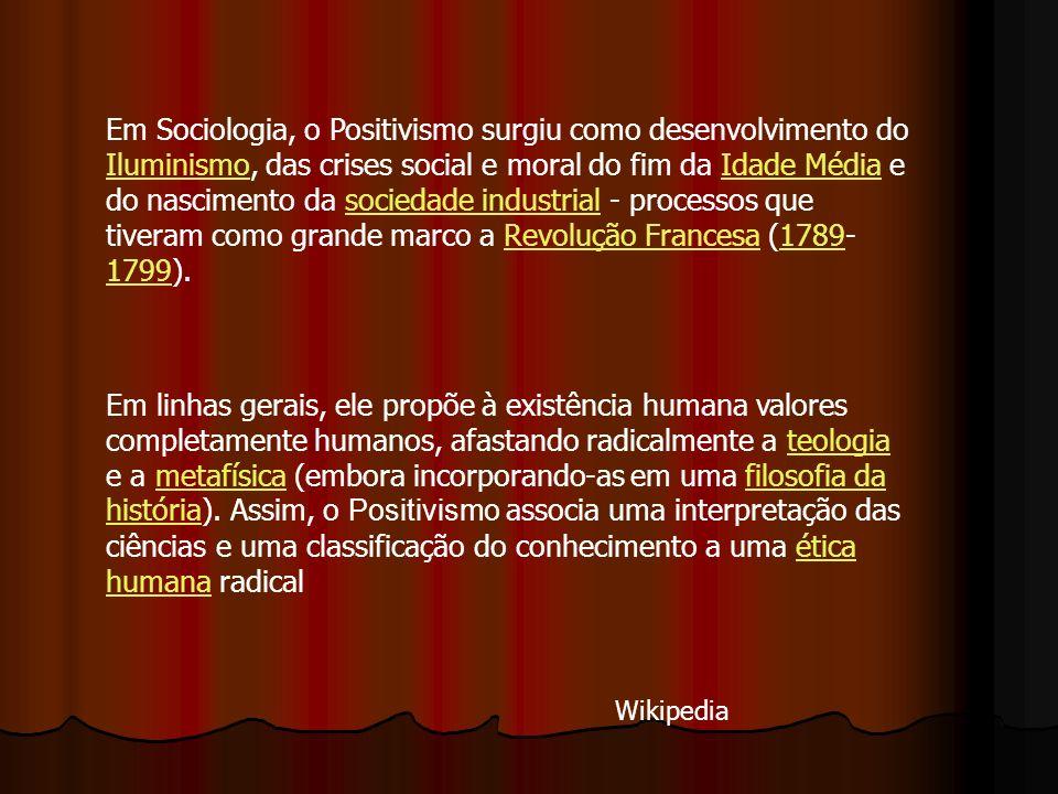Em Sociologia, o Positivismo surgiu como desenvolvimento do Iluminismo, das crises social e moral do fim da Idade Média e do nascimento da sociedade i