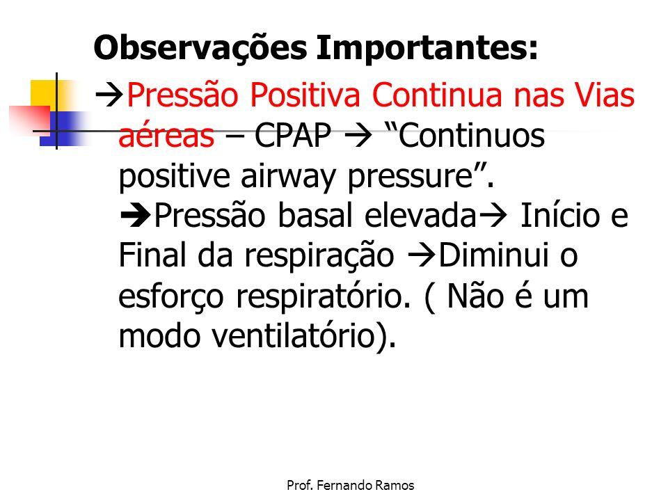 Prof. Fernando Ramos Observações Importantes: Pressão Positiva Continua nas Vias aéreas – CPAP Continuos positive airway pressure. Pressão basal eleva
