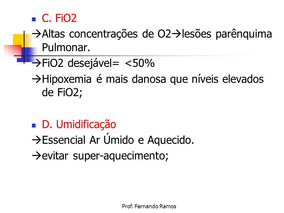 Prof. Fernando Ramos C. FiO2 Altas concentrações de O2 lesões parênquima Pulmonar. FiO2 desejável= <50% Hipoxemia é mais danosa que níveis elevados de