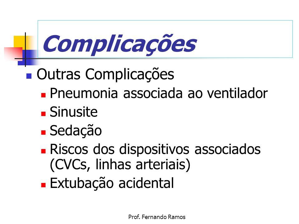 Prof. Fernando Ramos Complicações Outras Complicações Pneumonia associada ao ventilador Sinusite Sedação Riscos dos dispositivos associados (CVCs, lin
