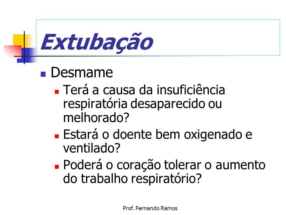 Prof. Fernando Ramos Extubação Desmame Terá a causa da insuficiência respiratória desaparecido ou melhorado? Estará o doente bem oxigenado e ventilado