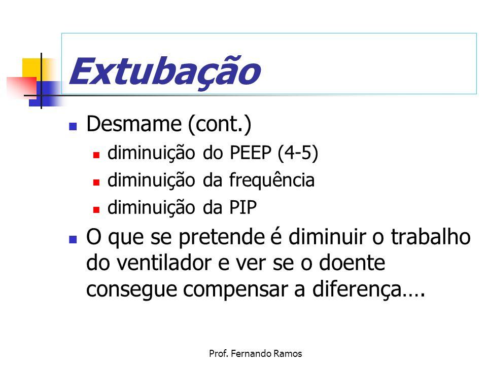 Prof. Fernando Ramos Extubação Desmame (cont.) diminuição do PEEP (4-5) diminuição da frequência diminuição da PIP O que se pretende é diminuir o trab