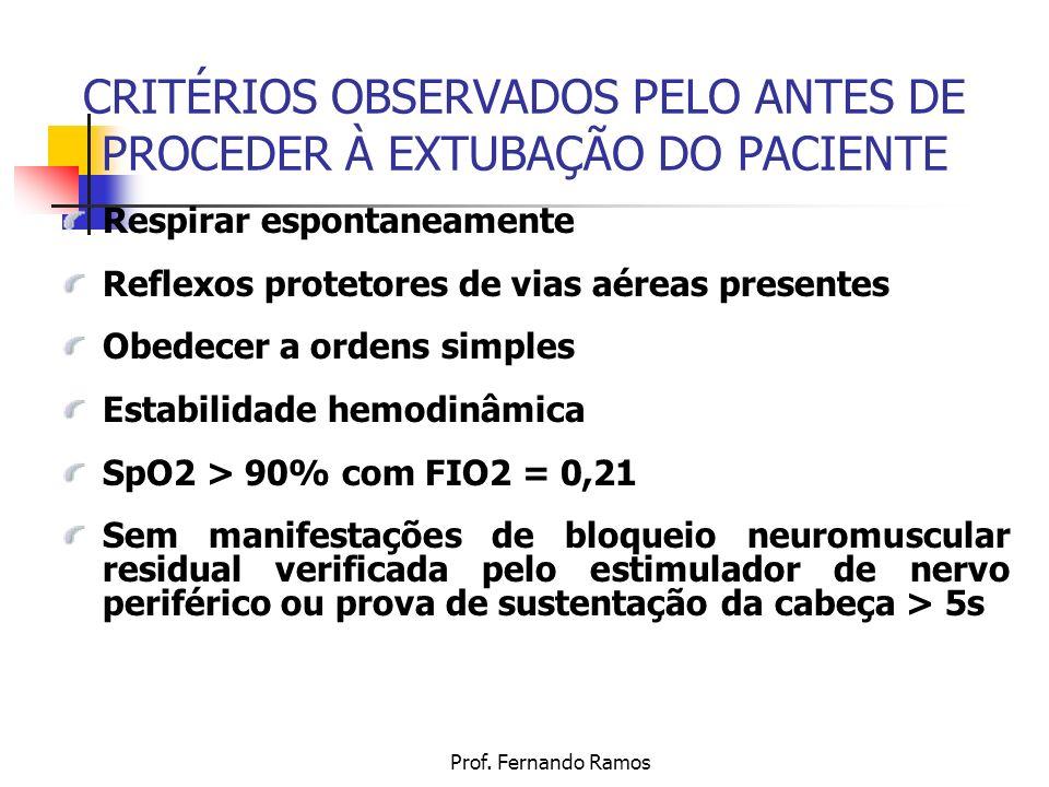 Prof. Fernando Ramos CRITÉRIOS OBSERVADOS PELO ANTES DE PROCEDER À EXTUBAÇÃO DO PACIENTE Respirar espontaneamente Reflexos protetores de vias aéreas p