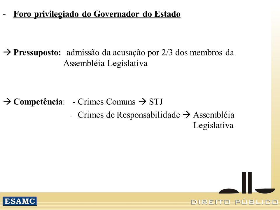 -Foro privilegiado do Governador do Estado Pressuposto: admissão da acusação por 2/3 dos membros da Assembléia Legislativa Competência: - Crimes Comun