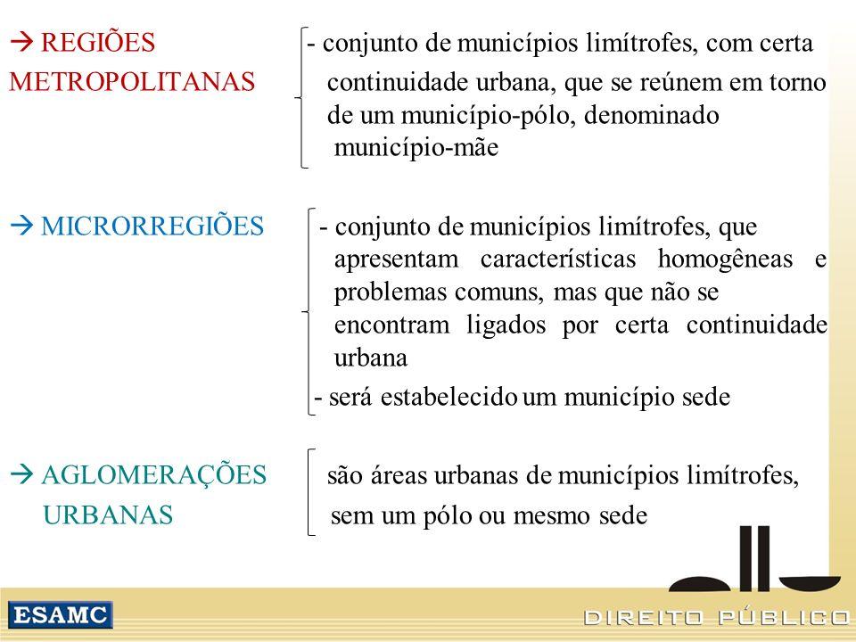 REGIÕES - conjunto de municípios limítrofes, com certa METROPOLITANAS continuidade urbana, que se reúnem em torno de um município-pólo, denominado mun