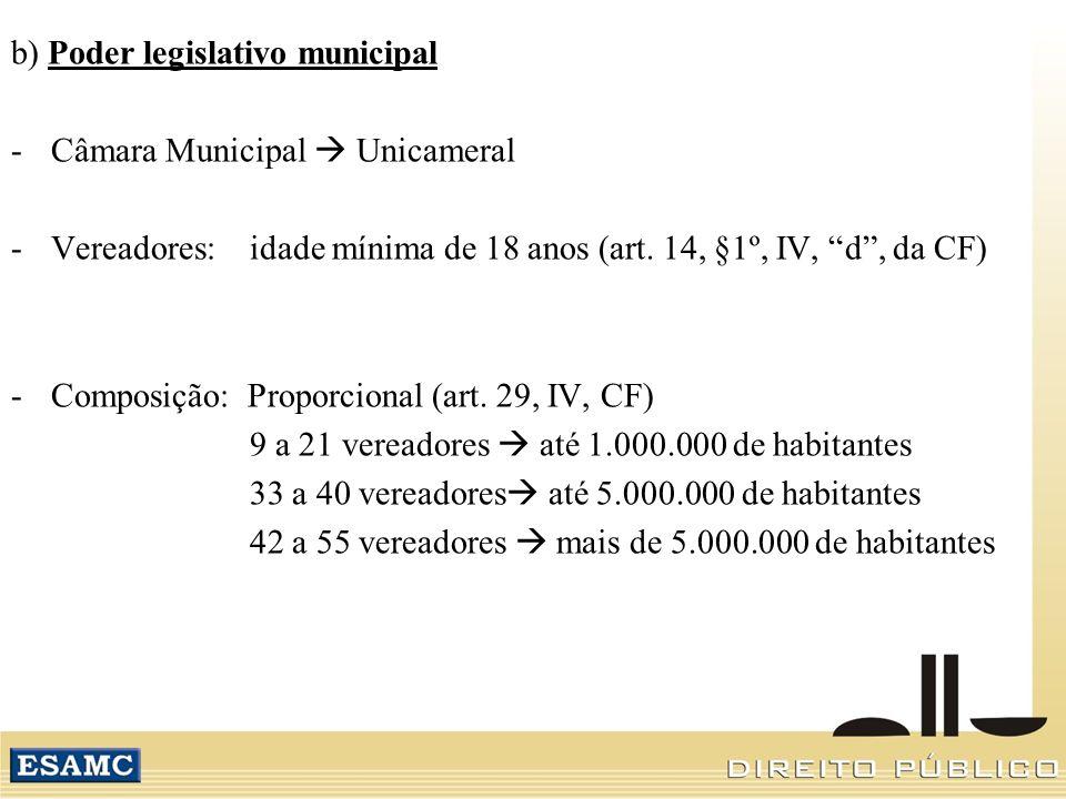 b) Poder legislativo municipal -Câmara Municipal Unicameral -Vereadores: idade mínima de 18 anos (art. 14, §1º, IV, d, da CF) -Composição: Proporciona