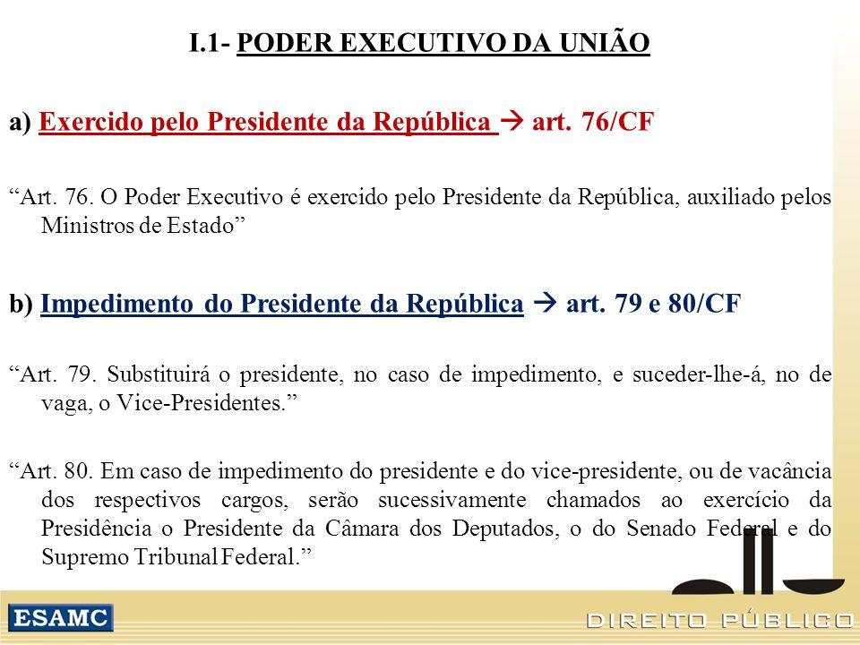 I.1- PODER EXECUTIVO DA UNIÃO a) Exercido pelo Presidente da República art. 76/CF Art. 76. O Poder Executivo é exercido pelo Presidente da República,