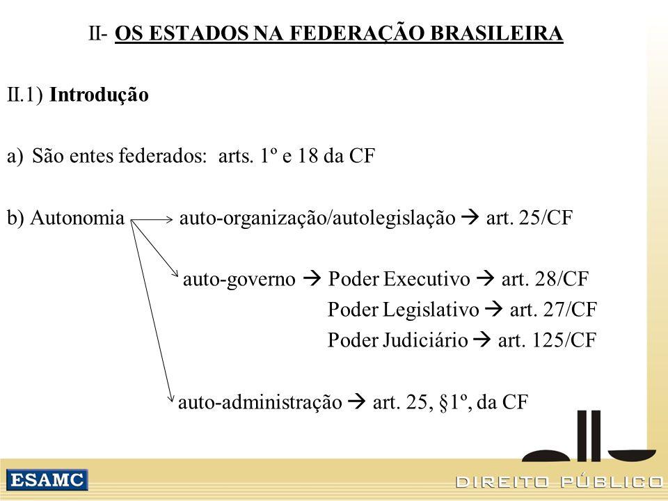 II- OS ESTADOS NA FEDERAÇÃO BRASILEIRA II.1) Introdução a)São entes federados: arts. 1º e 18 da CF b) Autonomia auto-organização/autolegislação art. 2