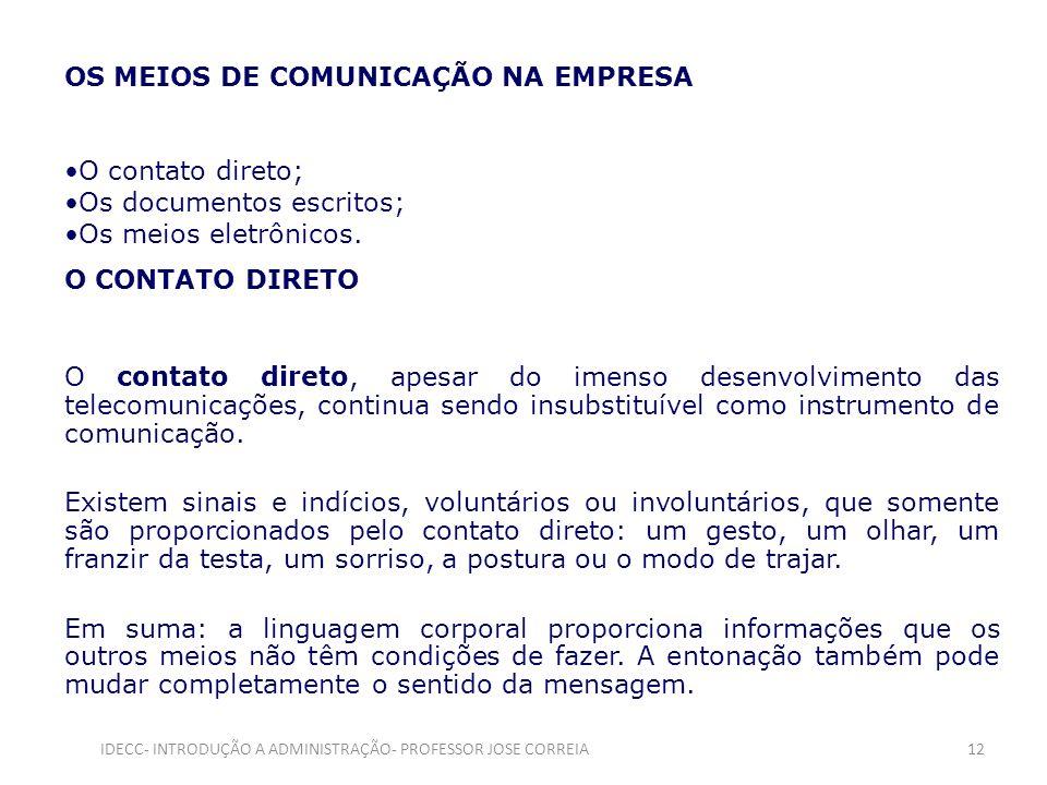OS MEIOS DE COMUNICAÇÃO NA EMPRESA O contato direto; Os documentos escritos; Os meios eletrônicos. O CONTATO DIRETO O contato direto, apesar do imenso