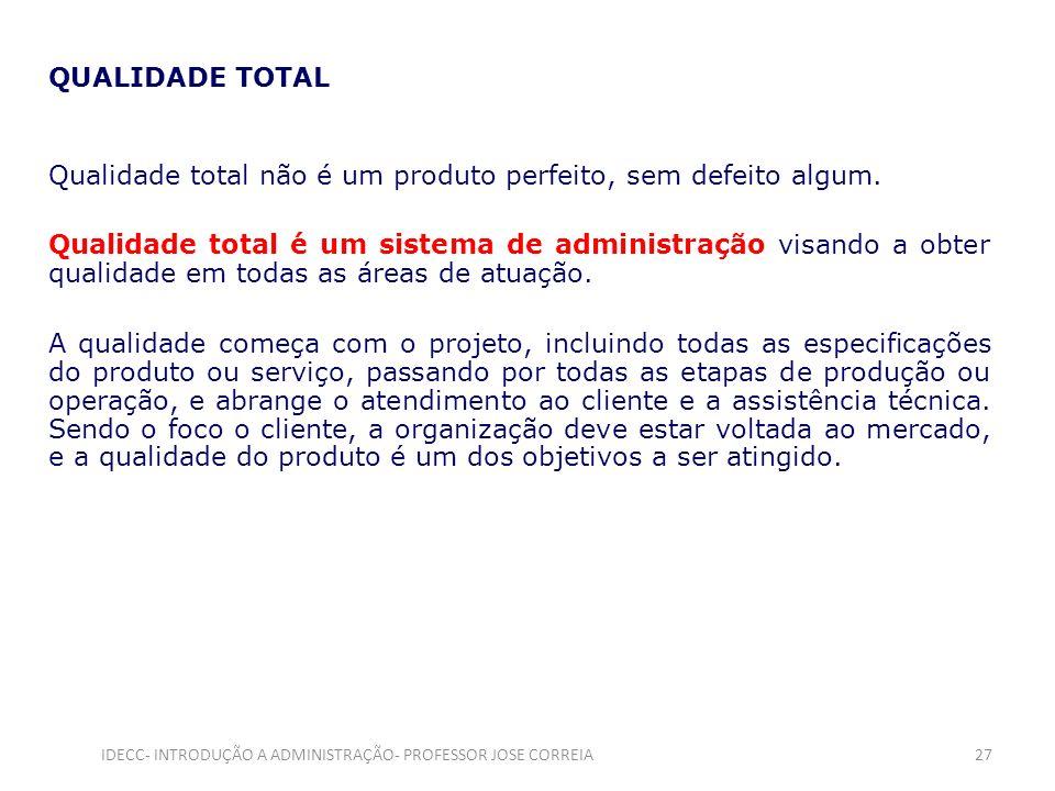 QUALIDADE TOTAL Qualidade total não é um produto perfeito, sem defeito algum. Qualidade total é um sistema de administração visando a obter qualidade