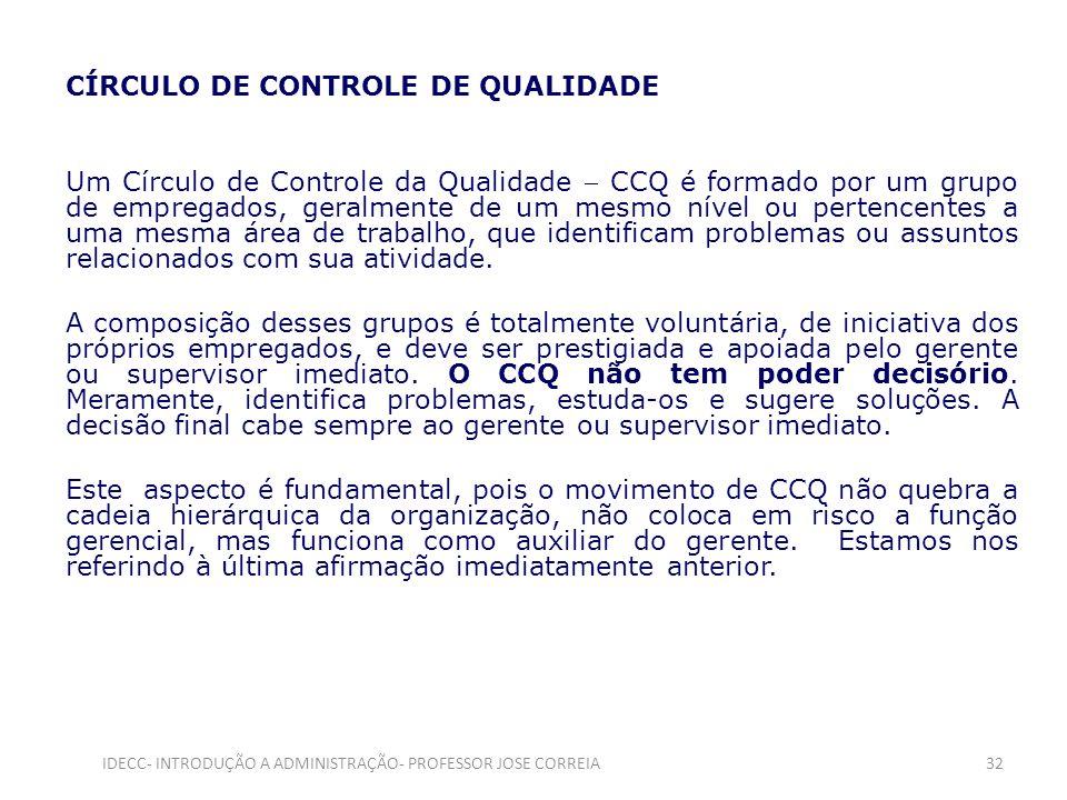 CÍRCULO DE CONTROLE DE QUALIDADE Um Círculo de Controle da Qualidade CCQ é formado por um grupo de empregados, geralmente de um mesmo nível ou pertenc