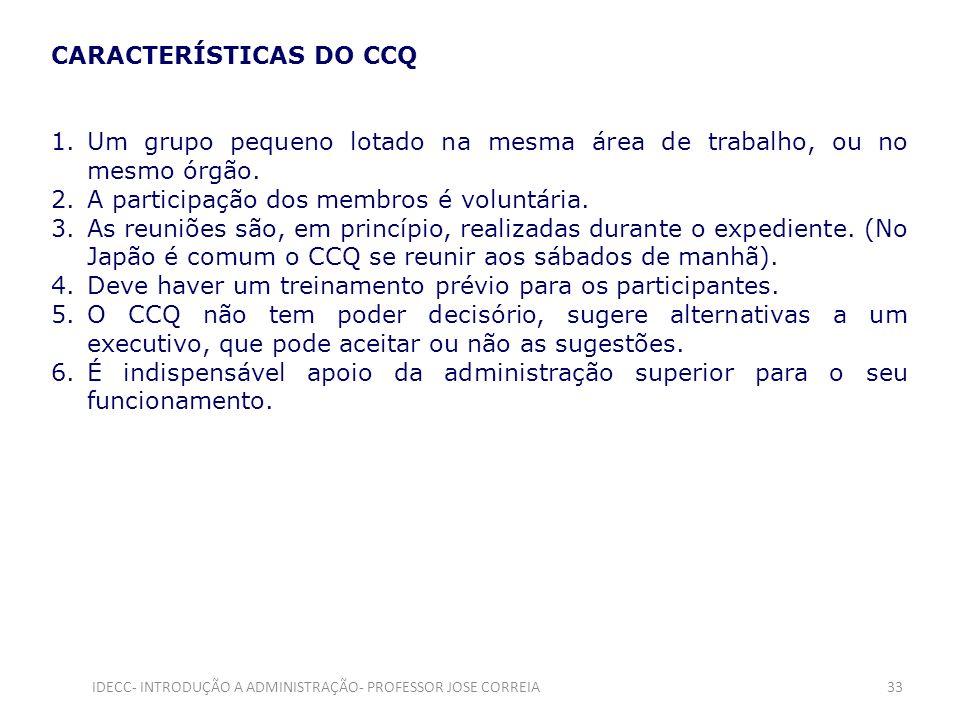 CARACTERÍSTICAS DO CCQ 1.Um grupo pequeno lotado na mesma área de trabalho, ou no mesmo órgão. 2.A participação dos membros é voluntária. 3.As reuniõe