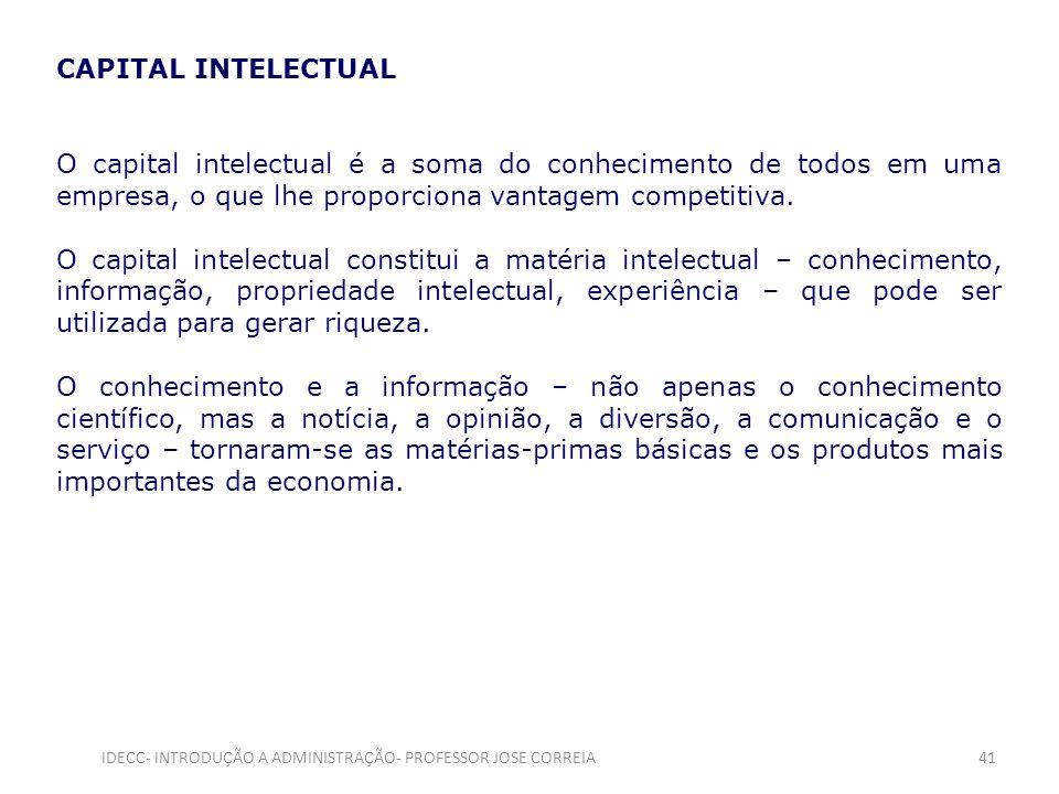 CAPITAL INTELECTUAL O capital intelectual é a soma do conhecimento de todos em uma empresa, o que lhe proporciona vantagem competitiva. O capital inte