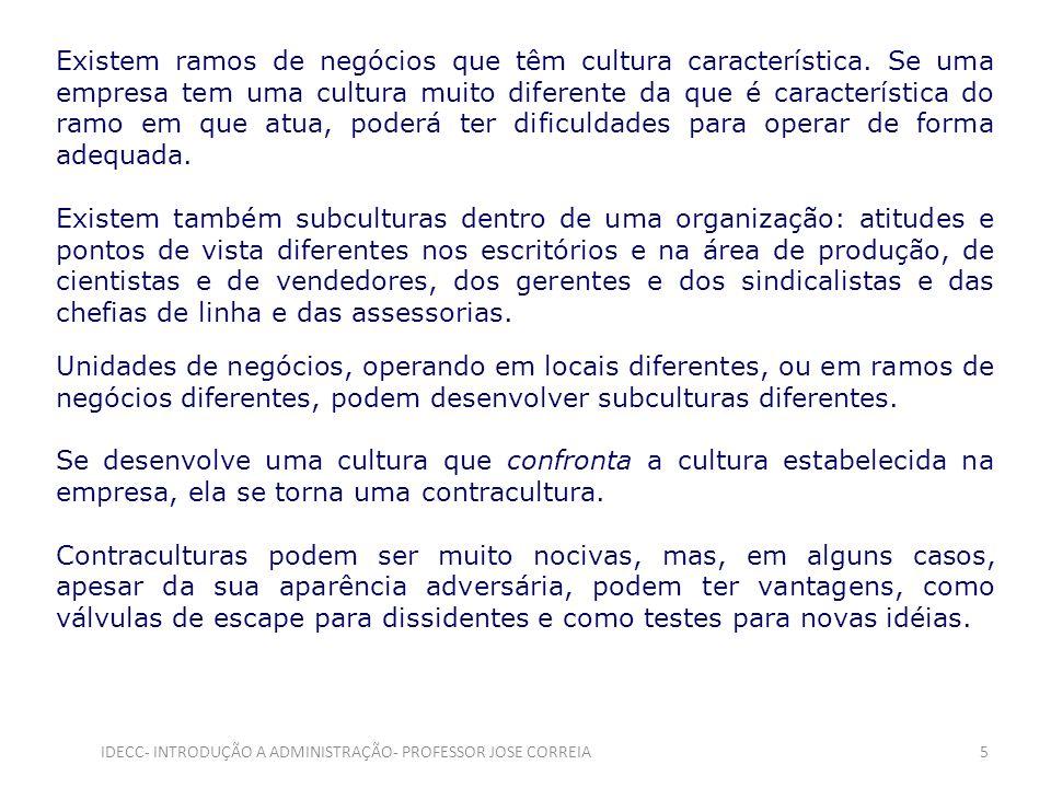 Existem ramos de negócios que têm cultura característica. Se uma empresa tem uma cultura muito diferente da que é característica do ramo em que atua,