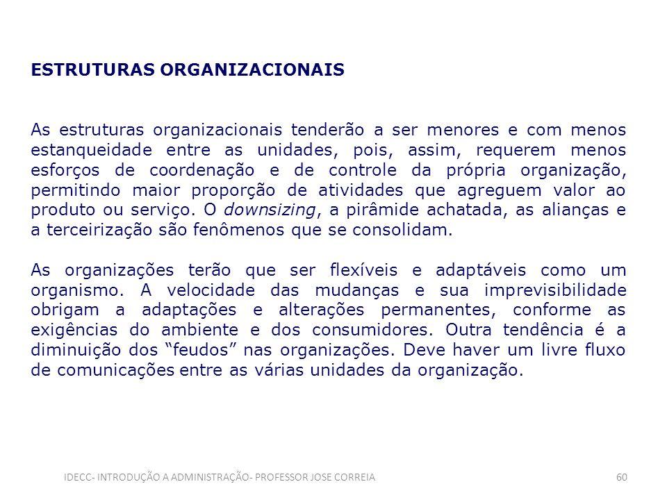 ESTRUTURAS ORGANIZACIONAIS As estruturas organizacionais tenderão a ser menores e com menos estanqueidade entre as unidades, pois, assim, requerem men