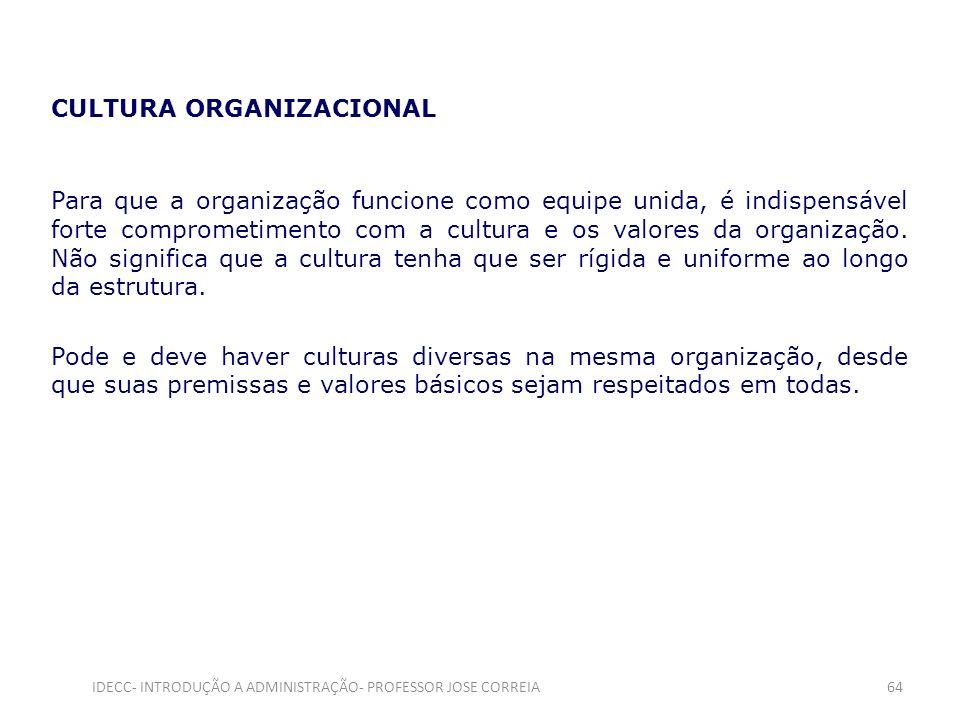 CULTURA ORGANIZACIONAL Para que a organização funcione como equipe unida, é indispensável forte comprometimento com a cultura e os valores da organiza