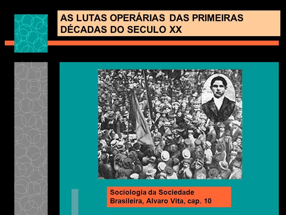 AS LUTAS OPERÁRIAS DAS PRIMEIRAS DÉCADAS DO SECULO XX Sociologia da Sociedade Brasileira, Alvaro Vita, cap. 10