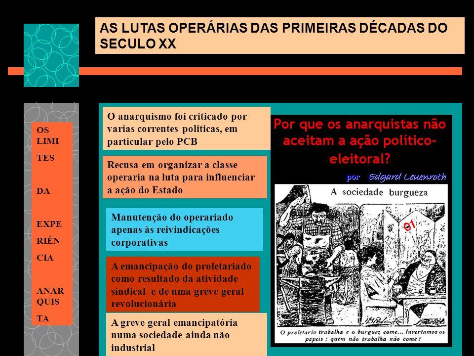 AS LUTAS OPERÁRIAS DAS PRIMEIRAS DÉCADAS DO SECULO XX OS LIMI TES DA EXPE RIÊN CIA ANAR QUIS TA O anarquismo foi criticado por varias correntes politi