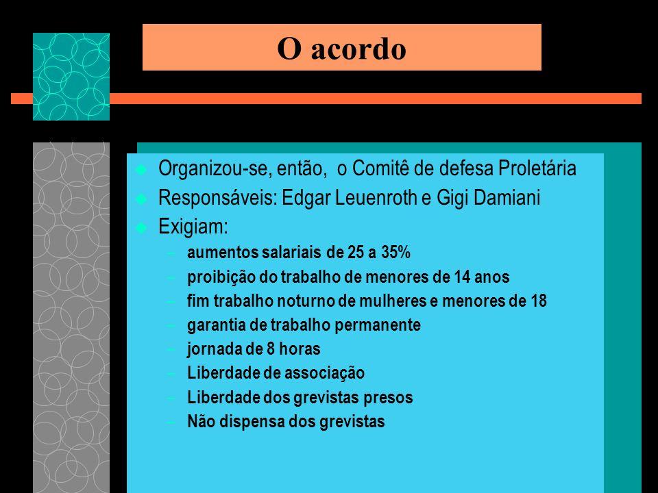 O acordo Organizou-se, então, o Comitê de defesa Proletária Responsáveis: Edgar Leuenroth e Gigi Damiani Exigiam: – aumentos salariais de 25 a 35% – p