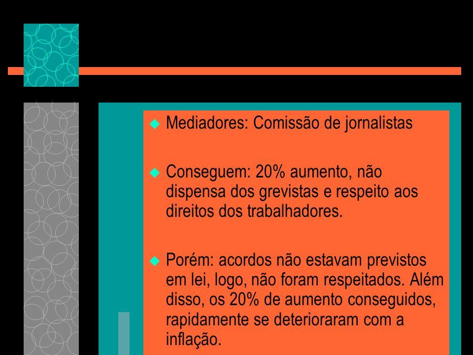 Mediadores: Comissão de jornalistas Conseguem: 20% aumento, não dispensa dos grevistas e respeito aos direitos dos trabalhadores. Porém: acordos não e