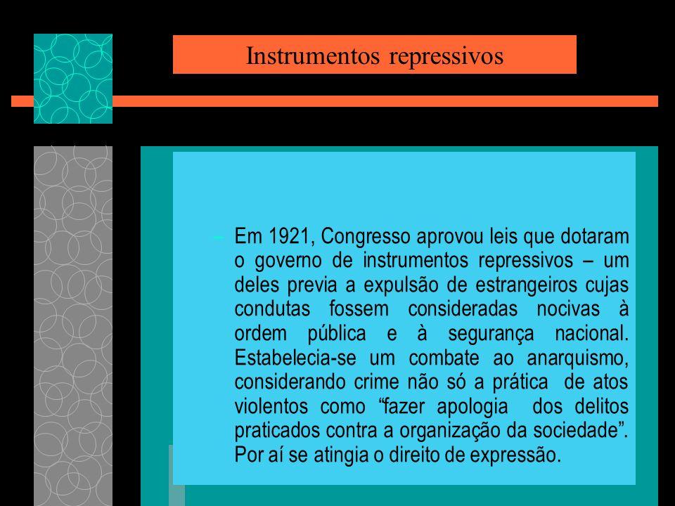 –Em 1921, Congresso aprovou leis que dotaram o governo de instrumentos repressivos – um deles previa a expulsão de estrangeiros cujas condutas fossem