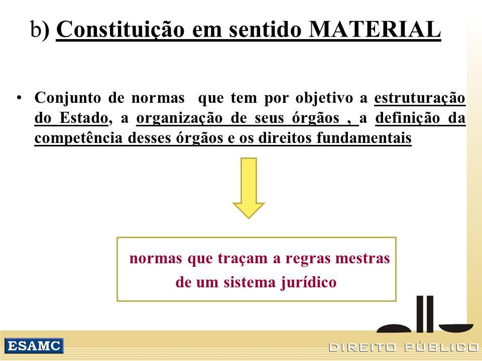b) Constituição em sentido MATERIAL Conjunto de normas que tem por objetivo a estruturação do Estado, a organização de seus órgãos, a definição da competência desses órgãos e os direitos fundamentais normas que traçam a regras mestras de um sistema jurídico