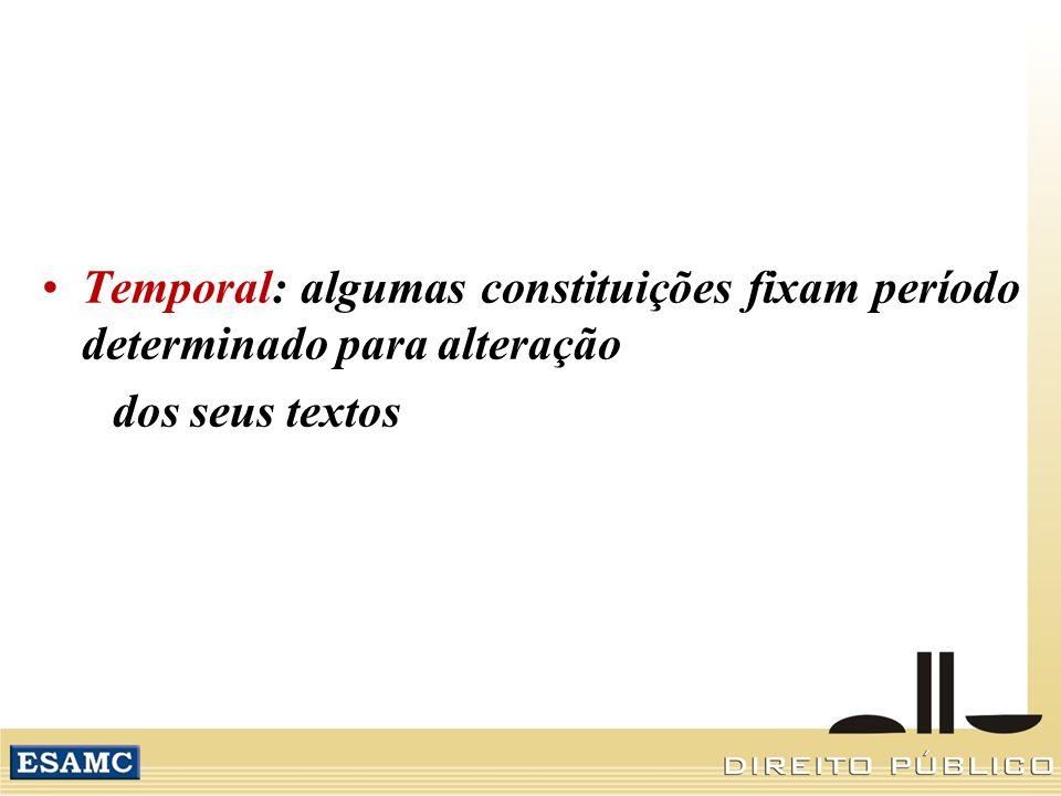 Temporal: algumas constituições fixam período determinado para alteração dos seus textos