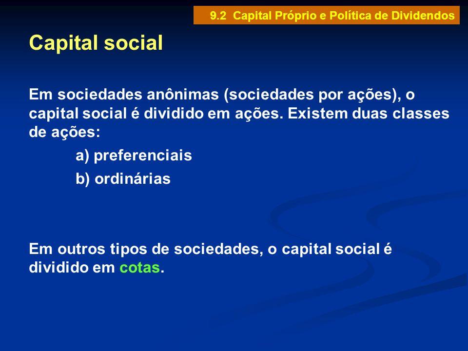 9.2 Capital Próprio e Política de Dividendos Capital social Em sociedades anônimas (sociedades por ações), o capital social é dividido em ações. Exist