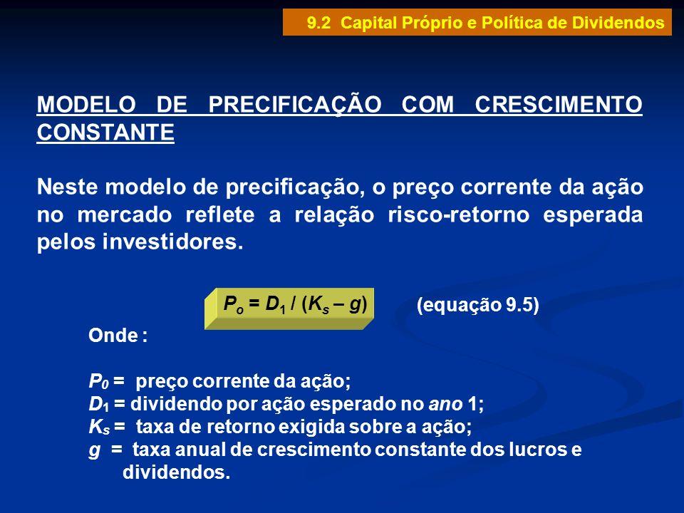 MODELO DE PRECIFICAÇÃO COM CRESCIMENTO CONSTANTE Neste modelo de precificação, o preço corrente da ação no mercado reflete a relação risco-retorno esp