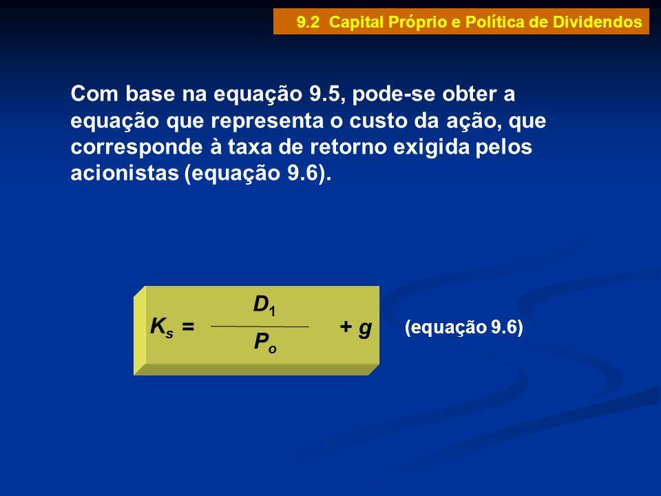 (equação 9.6) D1D1 PoPo KsKs =+ g Com base na equação 9.5, pode-se obter a equação que representa o custo da ação, que corresponde à taxa de retorno e